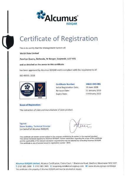 ISO 45001:2018 Penrhyn Quarry
