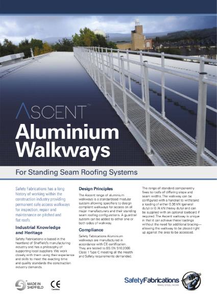 Ascent aluminium anti-slip walkway for standing seam roofs