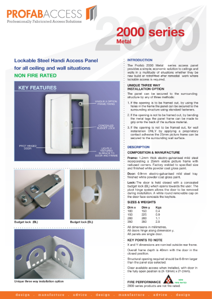 Profab 2000 series Plastic Handi Access Panels