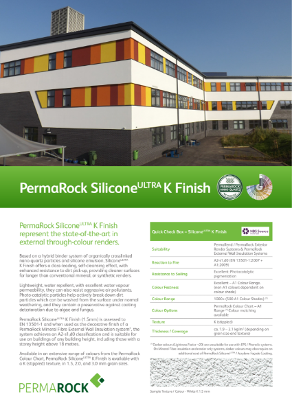 PermaRock SiliconeUltra Through Coloured K Textured Render (self-cleansing nano-quartz, colour-fast renders)