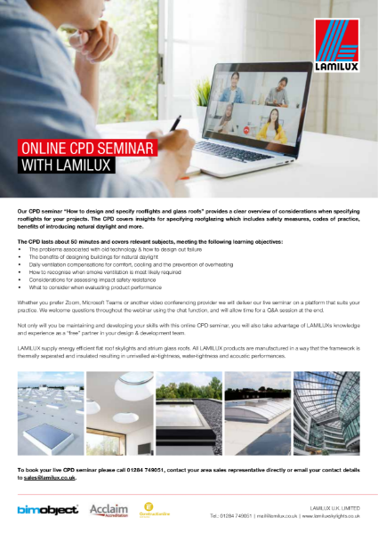 Book a CPD with LAMILUX