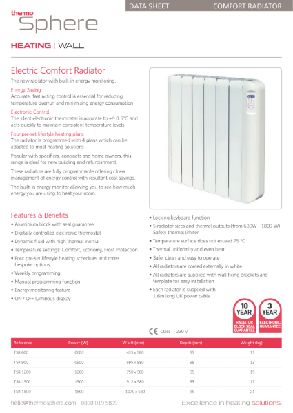 Electric Oil Filled Radiator - ThermoSphere