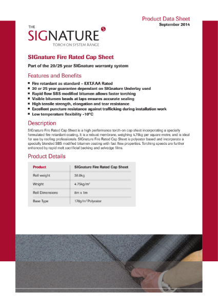 SIGnature Bitumen Roof Membrane Fire Rated Cap Sheet Datasheet