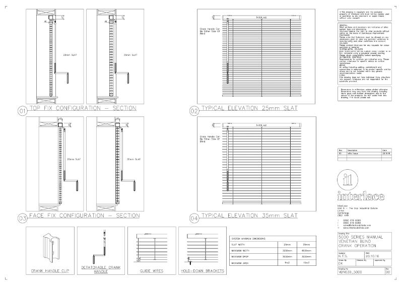 5000 Series Venetian Blind - Drawing Manual Crank