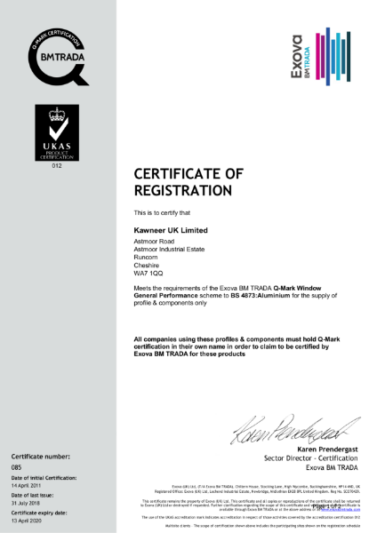 BM TRADA Q-Mark UK Certificate 085