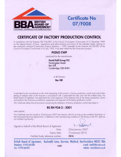 07/F008 Certificate of Factory Production Control