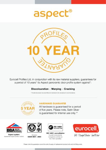 Aspect PVC-U Bi-Fold doors 10 Year Product Guarantee Certificate