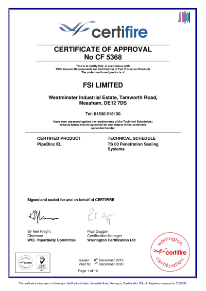 Certificate of Approval CF5368 - PipeBloc EL