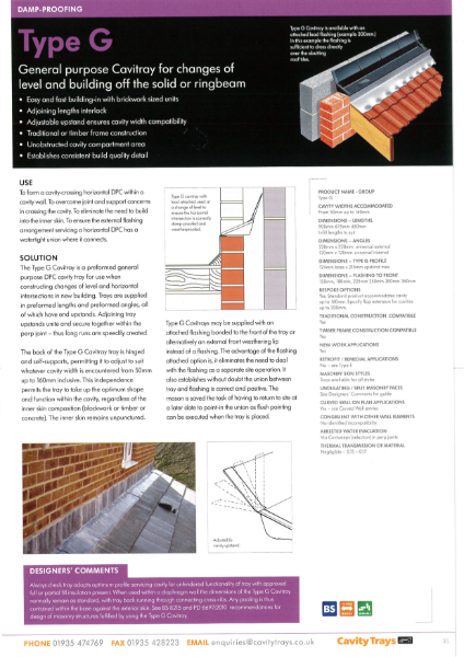 Cavity Trays Ltd Type G horizontal cavity tray lean to flat roof