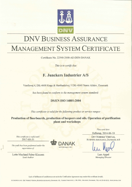 ISO Certificate 14001 2004