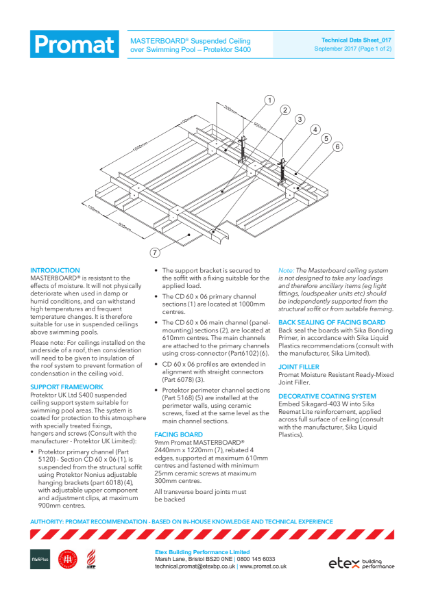 Masterboard Technical Data Sheet Swimming Pools