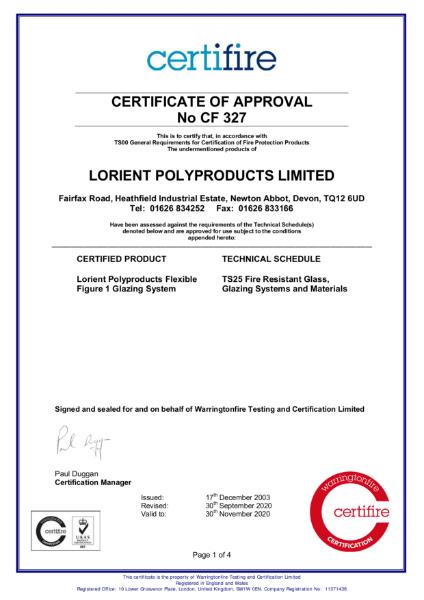 CF327 Certifire Certificate