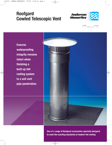Icopal Roofgard Cowled Telescopic Vent for Flat Roofs