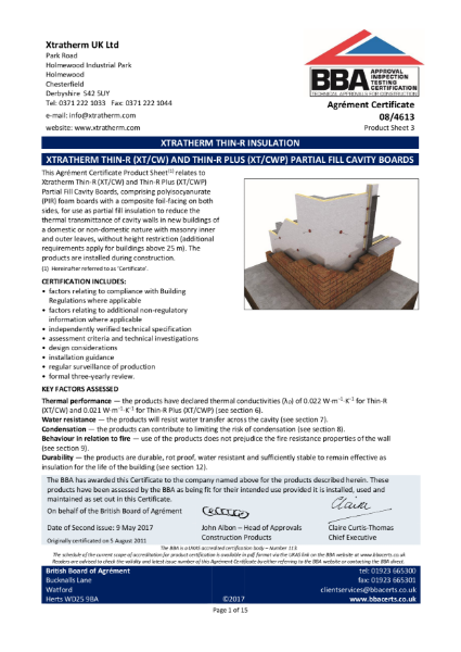 08/4613 Xtratherm Thin-R (XT/CW) and Thin-R Plus (XT/CWP) Partial Fill Cavity Boards (Product Sheet 3)
