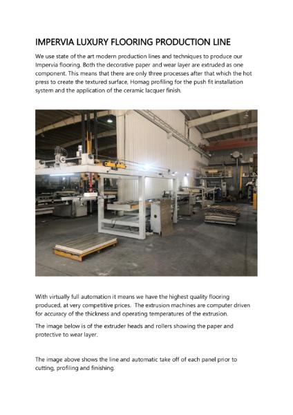 Impervia Luxury Flooring Production Line
