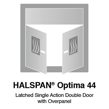 HALSPAN® Optima 44 mm Internal Fire Rated Door Blank - Latched Single Acting Double Doors With Overpanel