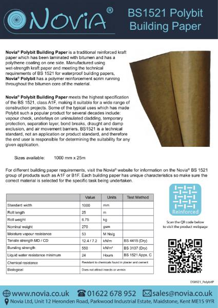 Novia Polybit BS1521 Building Papers