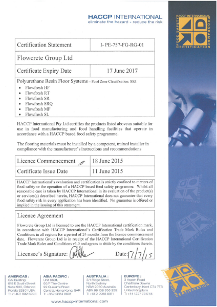HACCP Certificate Statement