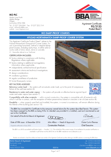 95/3133_2 Hyload Mortarmatch Damp-Proof Course System