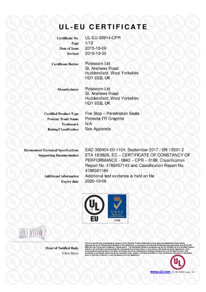 Protecta FR Graphite - UL-EU Certificate