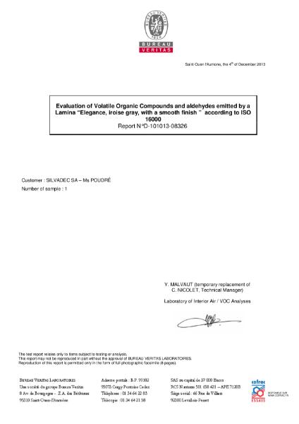 Silvadec VOC Test Certificate