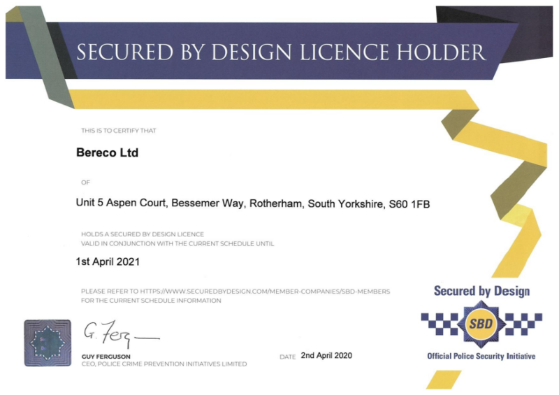 Secured By Design Certificate 2020