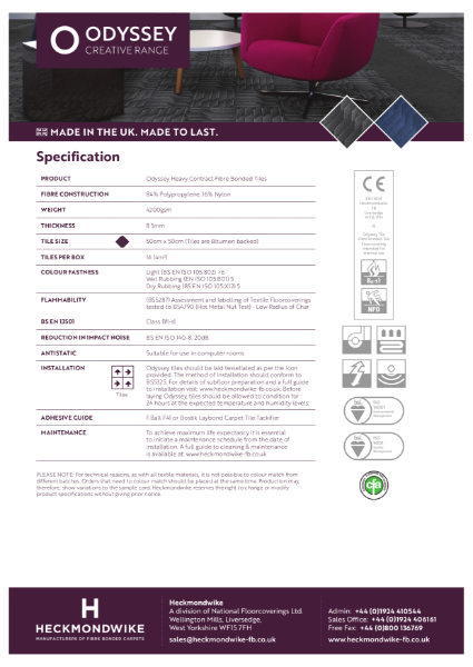 Heckmondwike - Odyssey - Specification Sheet