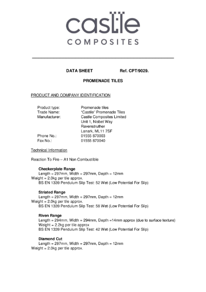 GRC Promenade Data Sheet