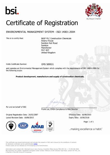 ISO 14001:2004 Certificate (Swinton)