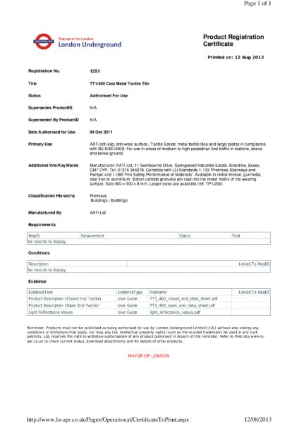 AATi certificate for AATi Anti-slip Corduroy / Tacile Tiles ref: TT1/400