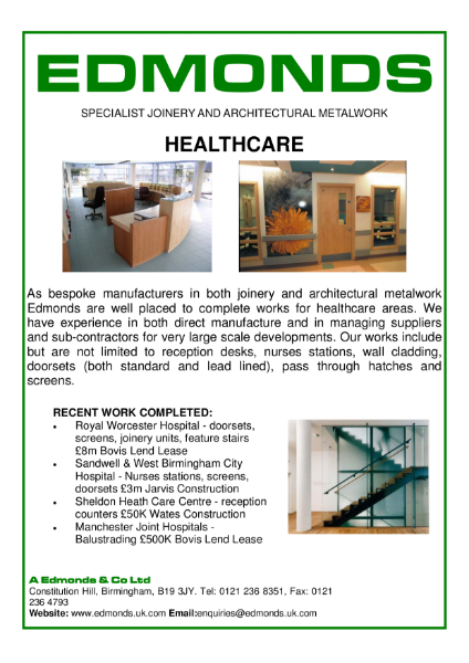 Edmonds Healthcare, Specialist Joinery and Architectural Metalwork