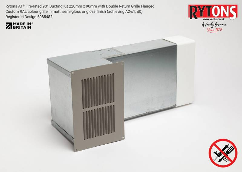 Rytons A1 Fire-rated 90° Ducting Kit 220 x 90 mm with Double Air Brick Grille