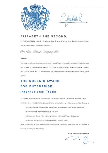 Queens award international trade 2018 certificate