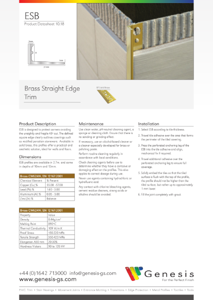 Solid Brass Straight Edge Tile Trim Datasheet