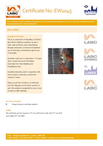 Alumaflex Multi-Foil LABC Certificate