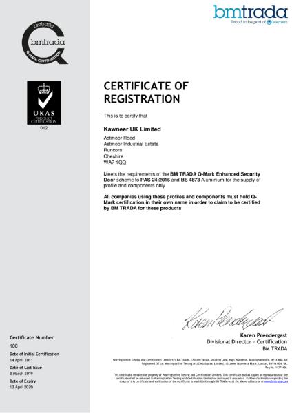 BM TRADA Q-Mark UK Certificate 100