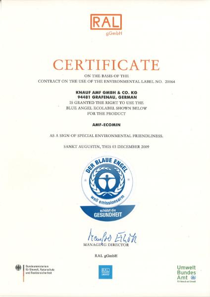 Blue Angel Ecomin Certificate