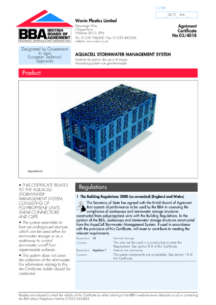 Aquacell stormwater management system