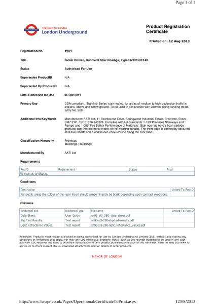AATi certificate for product ref: SN93/SL3/140