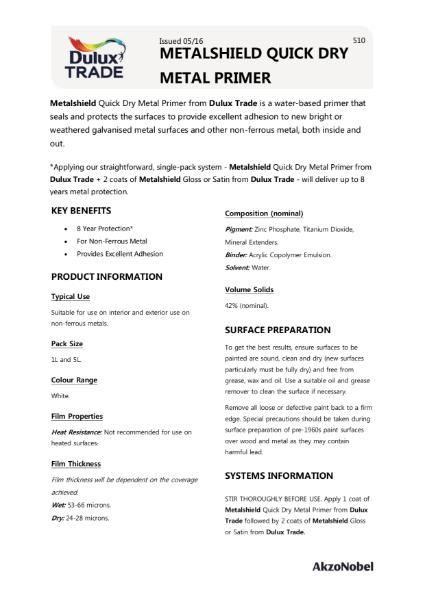 Dulux Trade Metalshield Quick Dry Metal Primer