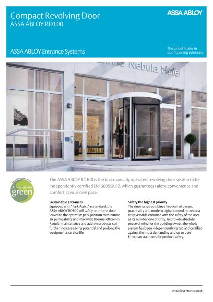 Revolving Door - Compact Manually Operated - ASSA ABLOY RD100