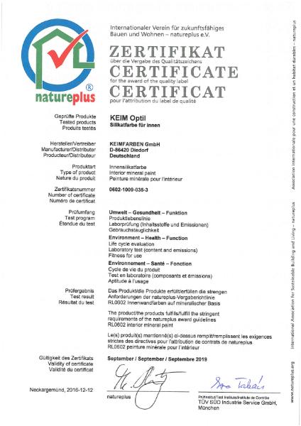 KEIM Optil Natureplus Certificate
