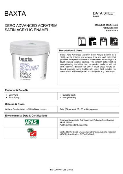 BAX 17 Xero Acratrim satin acrylic enamel TDS