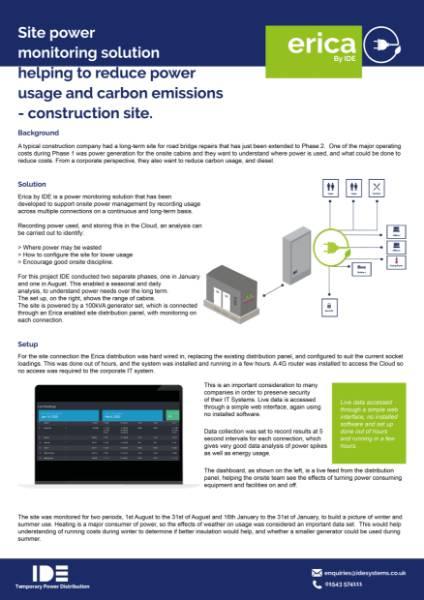 Site power monitoring solution helping to reduce power usage and carbon emissions –construction site.