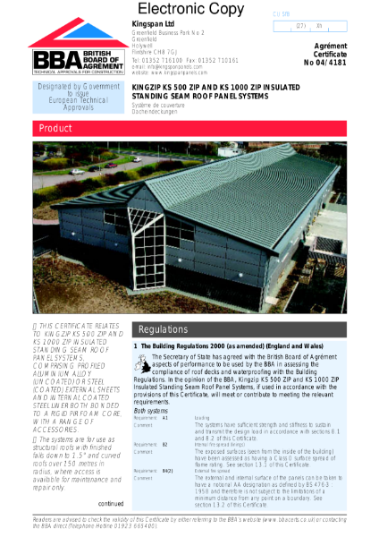 04/4181 Kingzip insulated standing seam roof panel systems