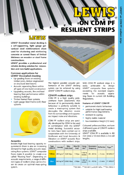 Lewis Deck acoustic floors using CDM resilient strips