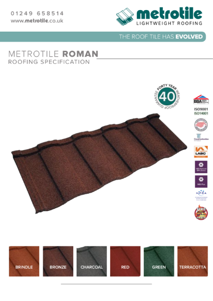 Metrotile Roman Lightweight Roofing System Example Specification