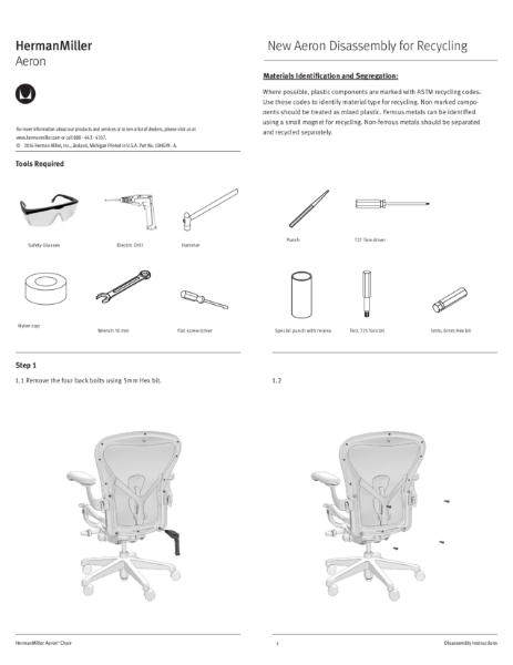 Aeron Chair - Recycling Instructions