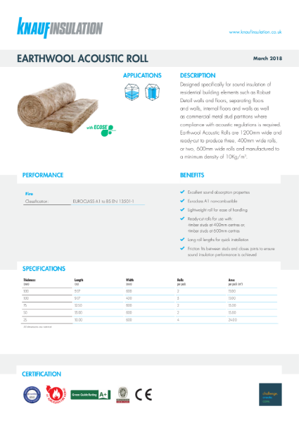 Knauf Insulation Acoustic Roll Insulation Data Sheet