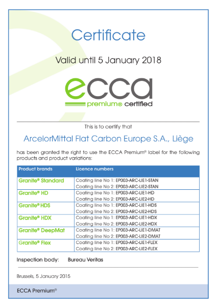ECCA Premium - Certificate ArcelorMittal FCE Liège